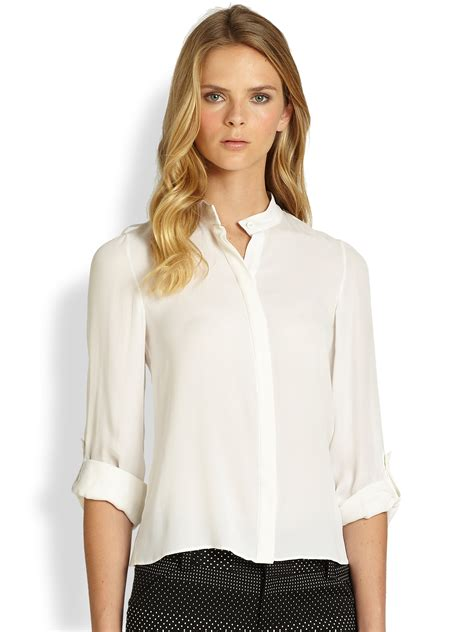 collar blouse marietta mandarin collar blouse in white lyst
