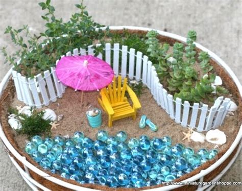 Miniature Gardens With A Beach Theme In Pots And Baskets
