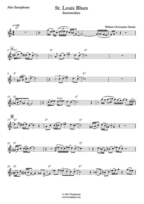 Saxophone Sheet Music St Louis Blues (Intermediate Level