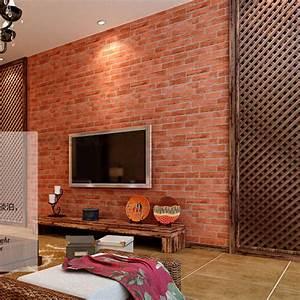Red Wallpaper Stone Brick Wall Paper Vintage Waterproof ...
