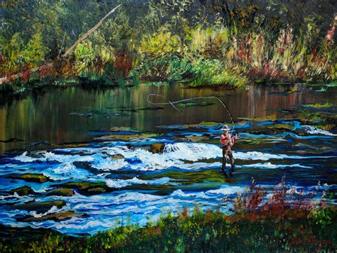 fly fishing giclee print trout stream painting man cave wall