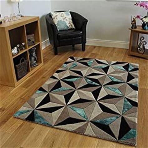 tapis moderne epais  motif geometrique bleu sarcelle
