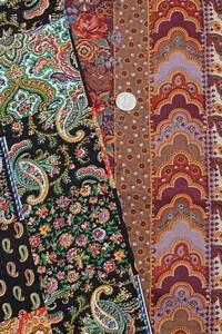 retro vintage paisley print fabric lot, bohemian gypsy red ...