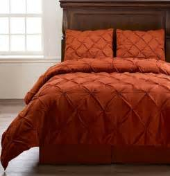 emerson burnt orange king size 4pc pinch pleat puckering comforter cozybeddings home