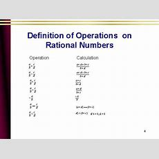 Definition Of Operations On Rational Numbers