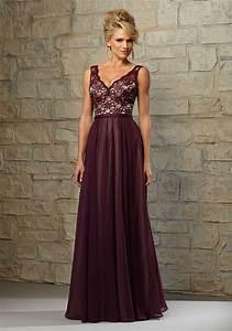 lace and chiffon bridesmaid dress with scalloped v With chiffon and lace wedding dress