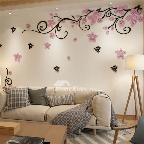 flower wall decals acrylic   adhesive living room