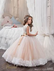 cheap 2018 cheap ball gown flower girl dresses jewel lace With girl dresses for wedding