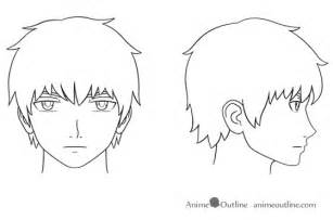 How To Draw A Person Standing Sideways by Anime Male Face And Head Outline Anime Outline