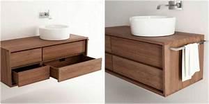 mobilier bois massif unique pour les interieurs contemporains With meuble sous vasque en bois massif