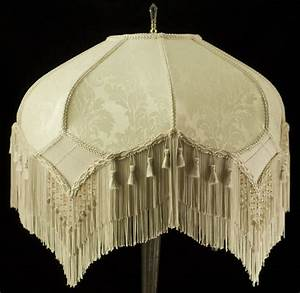 stunning vintage look victorian lampshade ivory damask With floor lamp with tassel fabric shade