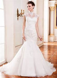 trumpet mermaid high neck cathedral train organza lace With jjshouse wedding dresses location