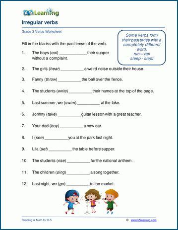 irregular verbs worksheets for grade 3 k5 learning