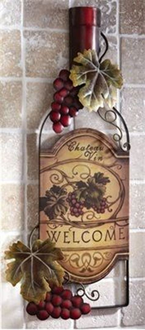 Tuscan Wine And Grape Kitchen Decor by Tuscany Wine Bottle Shaped Metal Wall Hanging Grapes