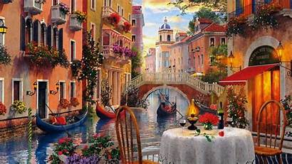 Italian Scenery Italy Venice Cafe Wallpapers Painting