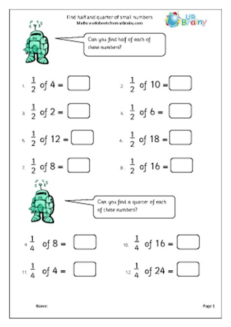 find half and quarter of small numbers fractions maths