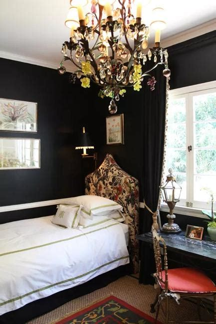 bedroom decorating  black wallpaper  modern wall