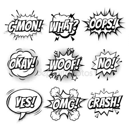 comic text bubbles vector isolated icons set stock