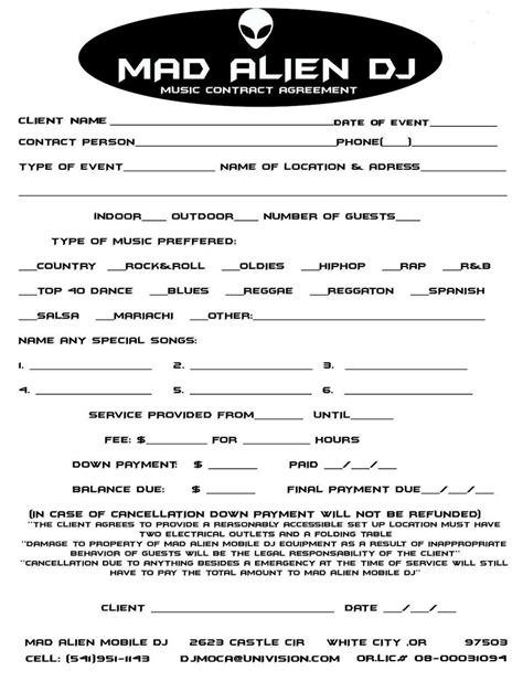 Mobile Dj Contract Template by Dj Contract Copia Copia Dj Contract Cosme Sandoval