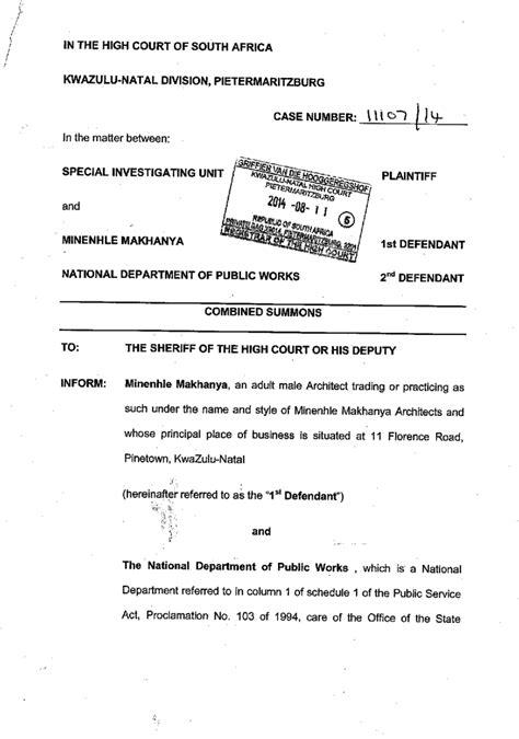 nkandla summons particulars  claim