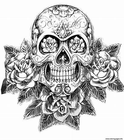 Coloring Skull Pages Hard Adult Sugar Tattoos