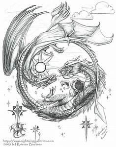 Grey Ink Dragon and Phoenix Tattoo Design