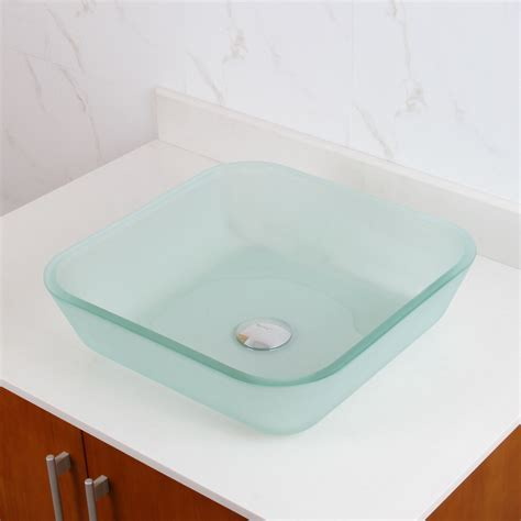 ELITE 1502 Frosted Square Tempered Glass Bathroom Vessel