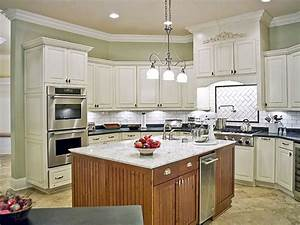 Kitchen colors with off white cabinets dark brown wooden for Kitchen colors with white cabinets with wall mounted art easel