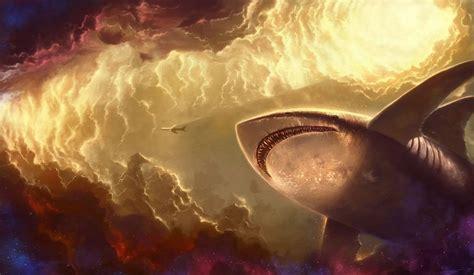 fish fantasy sky star art clouds shark giant light plane