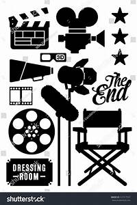 Movie Film Icons Symbols Stock Vector 127317557 - Shutterstock