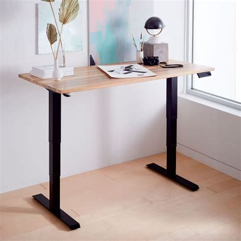 industrial standing desk industrial sit stand adjustable desk west elm