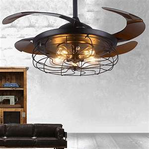Industrial 42 U0026quot  Indoor Ceiling Fan Reversible Flush Mount