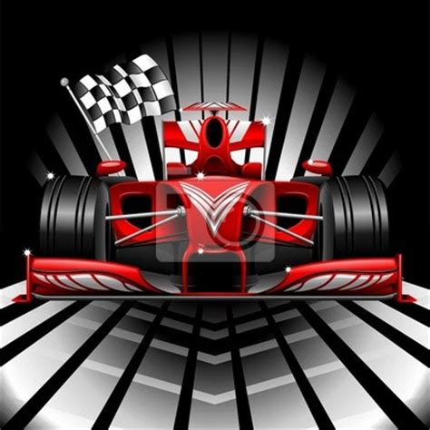 wall mural formula 1 race car and chequered flag