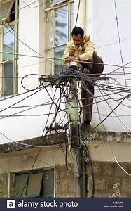 Indian Telecom Expert Technician Repairing Telephone Lines