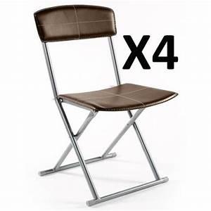 Chaise De Salle A Manger Pas Cher : lot de 4 chaises pliantes pvc simil cuir en marron achat vente chaise salle a manger pas cher ~ Teatrodelosmanantiales.com Idées de Décoration