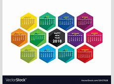 New year 2018 calendar design Royalty Free Vector Image