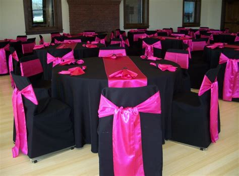 pink satin sashes and table runners black solid
