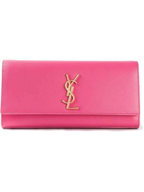 Lyst  Saint Laurent Ysl Clutch In Pink