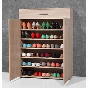 Armoire à Chaussures : armoire meuble chaussures ch ne sonoma avec 2 portes et 1 tiroir dim l 89 x h 120 x p 37 cm ~ Teatrodelosmanantiales.com Idées de Décoration