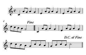 [italian coda, tail, from latin cauda, cōda, tail, perhaps originally that which is hewn off, part, and akin to cūdere, to strike, beat; Descubriendo la Música. Partituras para Flauta Dulce o de Pico.: Los Signos de Repetición