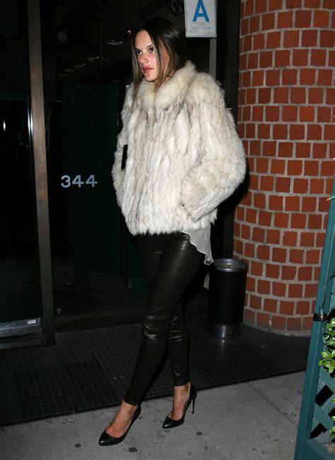 alessandra ambrosio fur coat fur coat lookbook stylebistro
