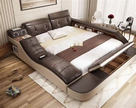 real genuine leather bed with massage /double beds frame