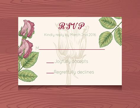 Wedding Invitation Rsvp Card Template With Botanical Roses