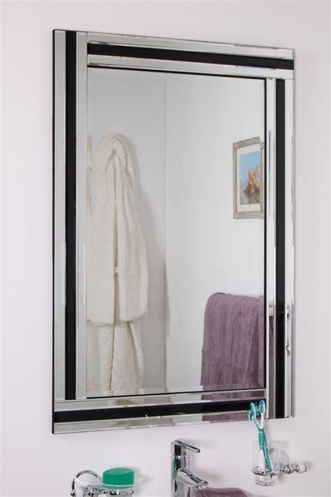 large black and silver edge bathroom wall mirror