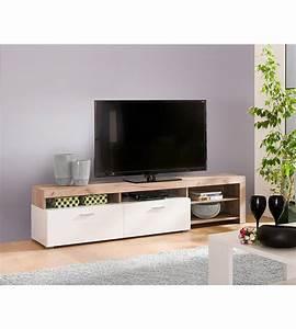 Meuble Tv Blanc Et Bois : meuble tv bois et blanc id es de d coration int rieure french decor ~ Teatrodelosmanantiales.com Idées de Décoration
