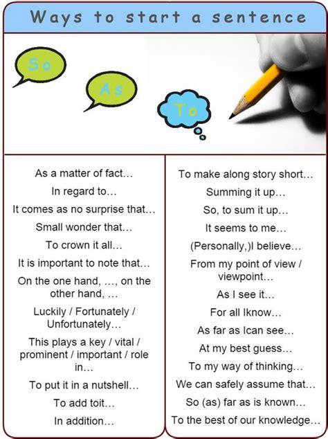 different ways to start a sentence conversations