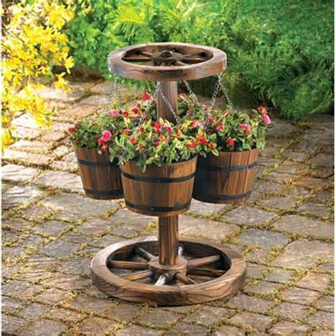 Patio Plant Stands Wheels by Wagon Wheel Hanging Barrel Yard Outdoor Flower