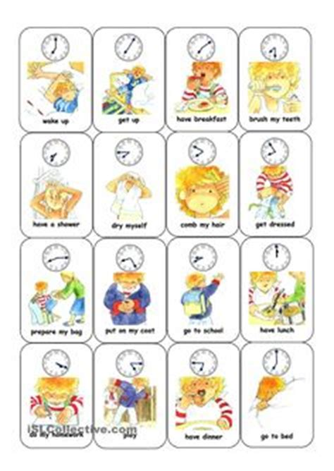 daily routine images english lessons teaching