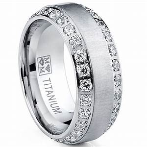 Mens or womens eternity titanium lcs diamond wedding band for Mens titanium wedding rings with diamonds