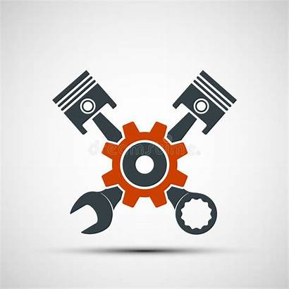 Wrench Engine Plungers Illustratio Gear Logos Vector
